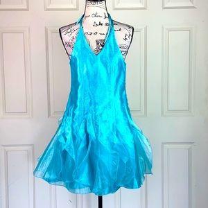 Jessica McClintock Layered Halter Light Blue Dress